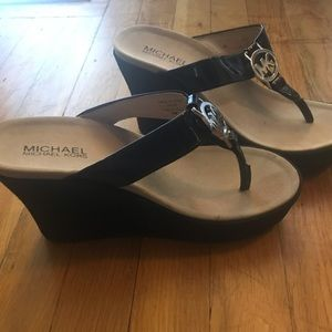 Michael Kors Black wedges- like new!